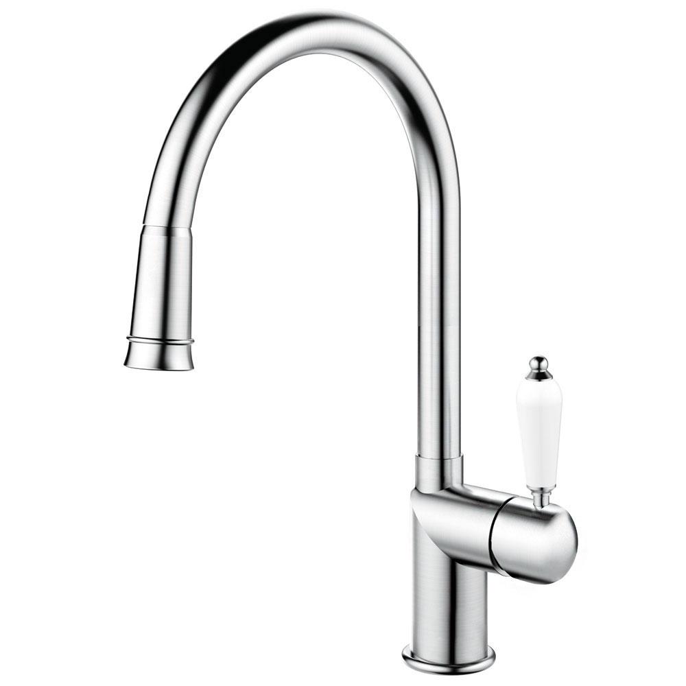 Edelstahl Küche Wasserhahn Ausziehbarer Schlauch - Nivito CL-200 White Porcelain Handle Color