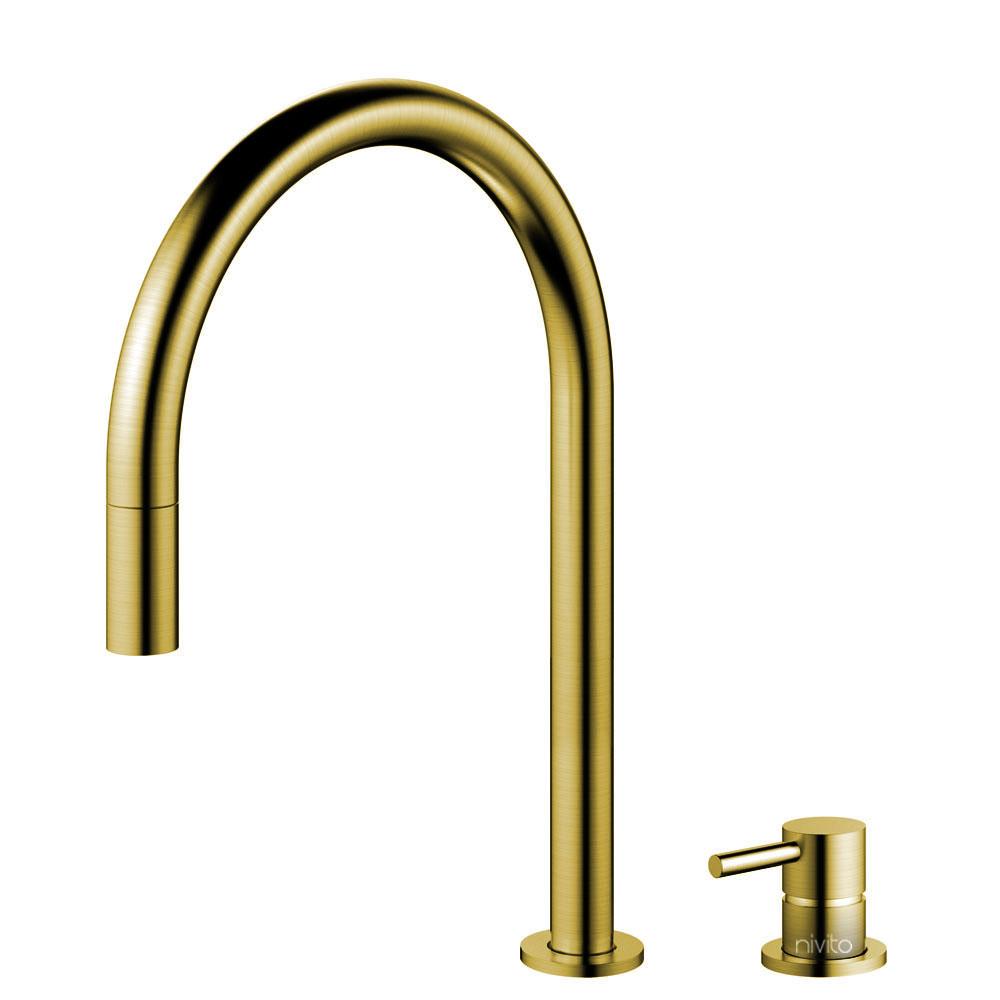 Messing/Gold Küche Wasserhahn Ausziehbarer Schlauch / Getrenntes Körper/Rohr - Nivito RH-140-VI